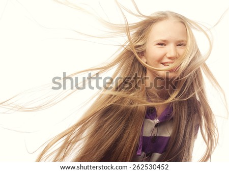 Beauty teen girl. Beautiful model face. Healthy long hair. - stock photo