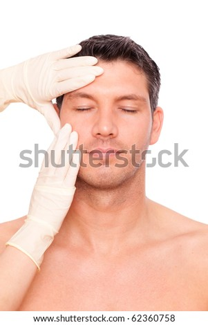 Beauty therapeutical male skin-juventation - stock photo
