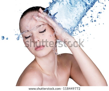Beauty treatment concept of woman with blue water. Isolated on white background - stock photo