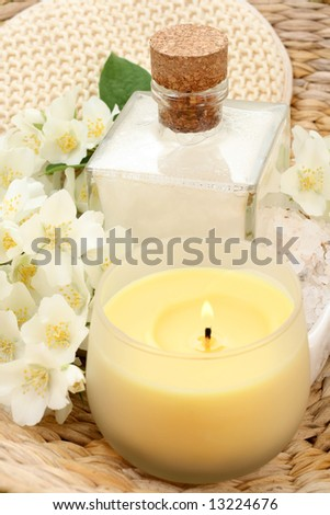 beauty treatment - jasmin flowers and cosmetics
