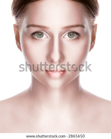 beauty vampire with green eye over white - stock photo