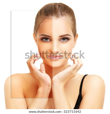 Beauty visual about suntan. Model's face divided in parts - tanned and natural - stock photo