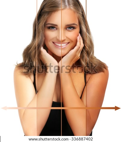Beauty visual about suntan. Model's face divided in parts - tanned and natural.Different tones of tan - stock photo