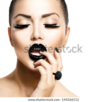 Beauty Vogue Style Fashion Model Girl with Long Lushes, Black Manicure and Lipstick.  Fashion Trendy Caviar Black Manicure. Nail Art. Passion - stock photo