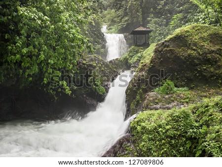 Beauty waterfall on Bali island - stock photo