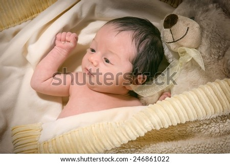Beauty 3 week old baby - girl - stock photo