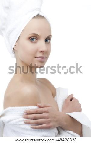 Beauty with bathrobe and towel on head - stock photo