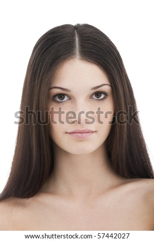 Beauty with long Brown Hair - stock photo