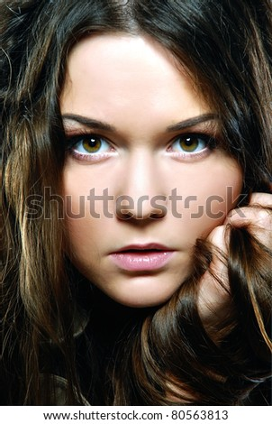 Beauty with perfect natural makeup look - stock photo