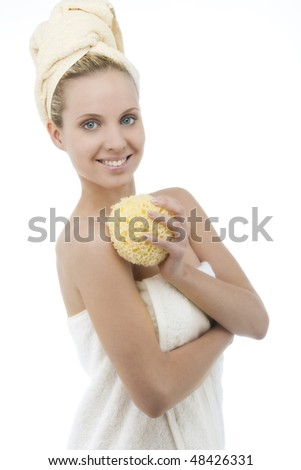 Beauty with towel and sponge