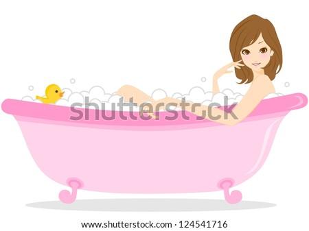 Beauty woman bathing - stock photo