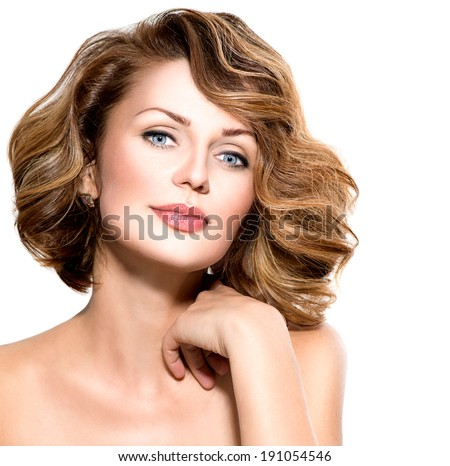 Beauty Woman. Beautiful middle aged Female Portrait isolated on White Background. Healthcare. Perfect Skin. Beauty Face. Professional Nude Makeup  - stock photo
