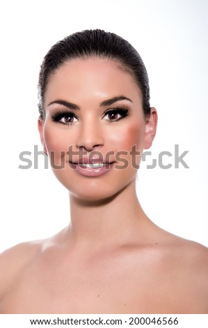 Beauty Woman. Beautiful Young Female touching Her Skin. Healthcare. Perfect Skin. Beauty Face.  - stock photo