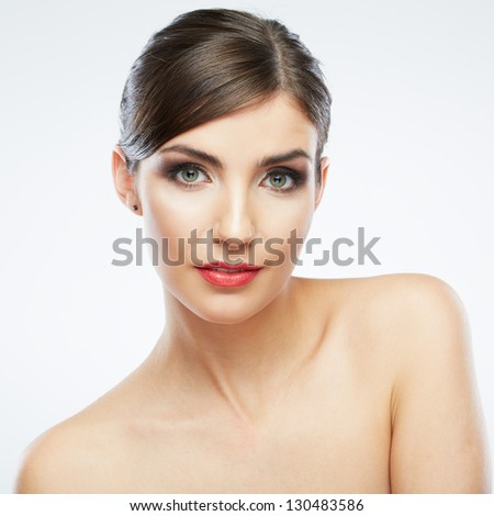 Beauty woman face close up portrait. Smiling female young model. Studio isolated . - stock photo