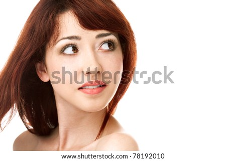 beauty woman face on white background - stock photo