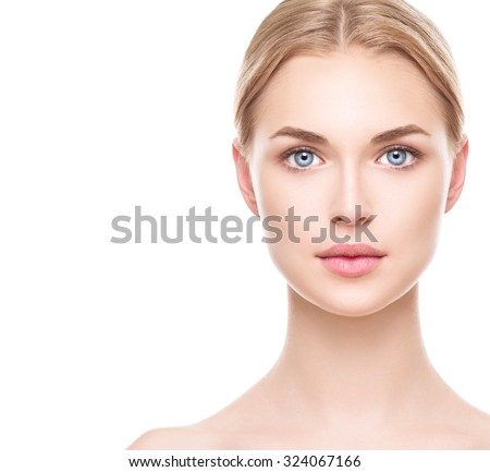 Beauty Woman face Portrait. Beautiful Spa model Girl with Perfect Fresh Clean Skin. Blonde female looking at camera and smiling. Youth and Skin Care Concept. Isolated on a white background - stock photo