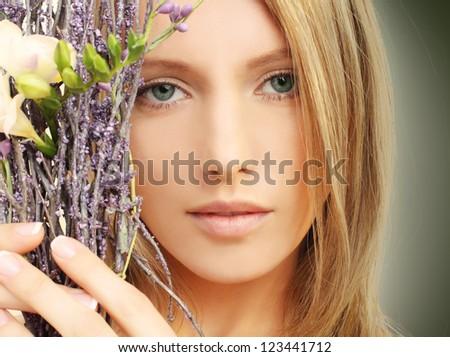 Beauty - woman face, spring makeup - stock photo