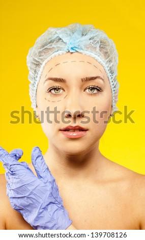 Beauty woman face surgery. close up portrait - stock photo
