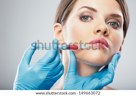 Beauty Woman face surgery close up portrait. Female model.