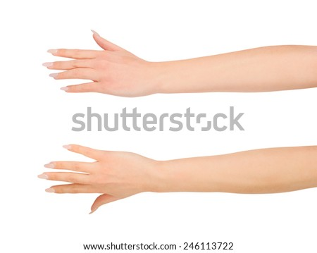 Beauty woman hand over white - stock photo