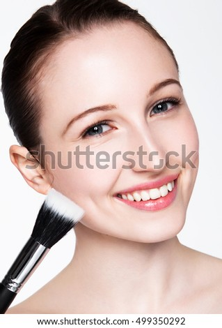 Beauty woman healthy cosmetic makeup portrait on white background