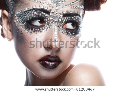 beauty woman in futuristic makeup isolated over white background - stock photo