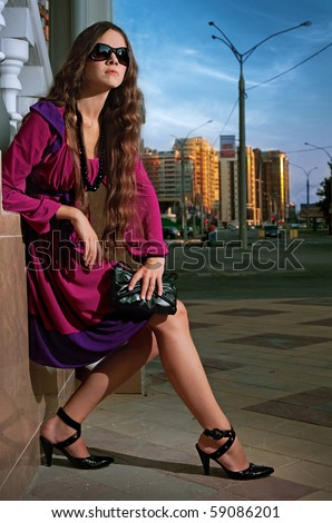beauty woman in the city at summer time - stock photo