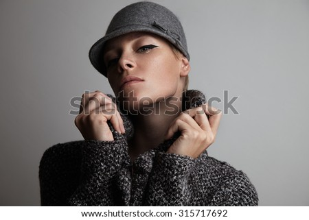 beauty woman in winter clothes - stock photo
