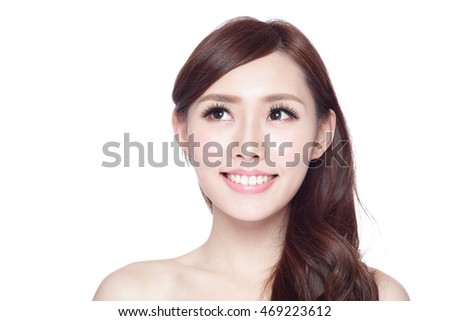 beauty woman look copy space with health skin, teeth and hair isolated on white background, asian beauty