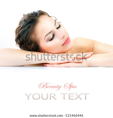 Beauty Woman Lying Down. Spa Girl. Sleeping or Resting Female isolated on White Background. Relax. Relaxation. Beauty Salon. Space For Your Text - stock photo