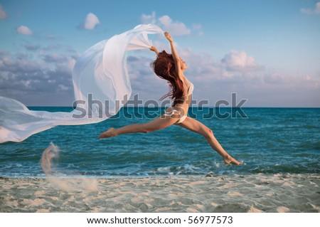 beauty woman on sea under sky - stock photo