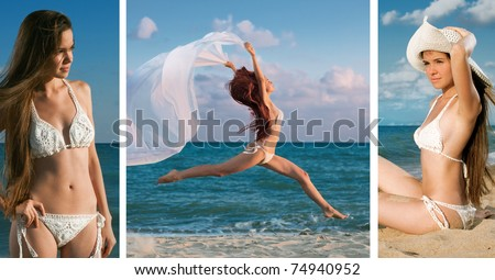 beauty woman on the sea over white background - stock photo