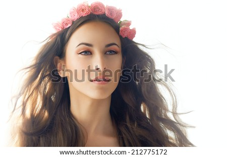 beauty woman on the white background - stock photo