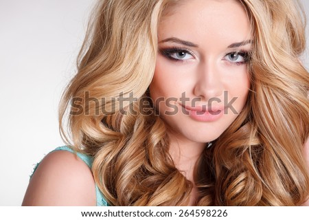 Blonde Girl Hairstyle : Beautiful young caucasian woman outdoor healthy stock photo