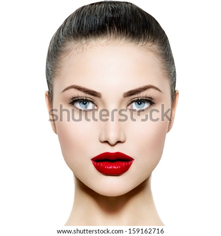 Beauty Woman Portrait. Professional Makeup for Brunette with Blue eyes - Red Lipstick. Beautiful Fashion Model Girl Face. Perfect Skin. Make up. Isolated on a White Background.  - stock photo