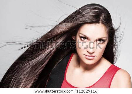 beauty woman portrait with long shiny hair studio shot horizontal - stock photo