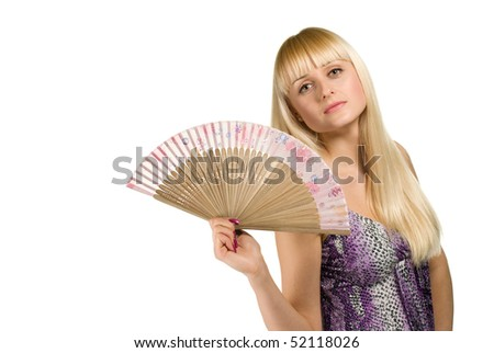 beauty woman posing with fan on white background isolated