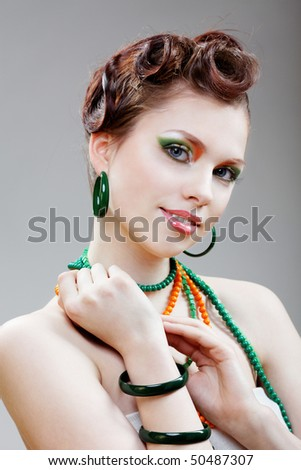 Beauty woman Salad make up.Fashion Model. - stock photo