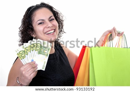 beauty woman shopping with bills of 100 euros - stock photo