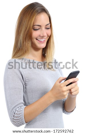 Beauty woman using and reading a smart phone isolated on a white background - stock photo