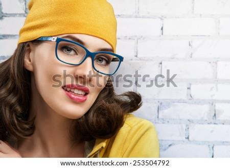 beauty woman wearing glasses - stock photo
