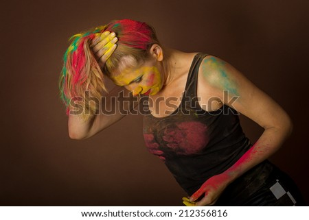 beauty woman with creative make up like Holy colour - stock photo