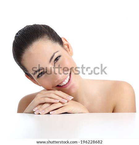 Beauty woman with perfect skin manicure and white smile isolated on a white background              - stock photo