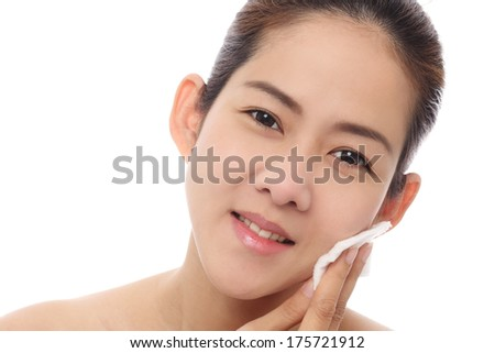 Beauty Women Asian Cleaning Her Face