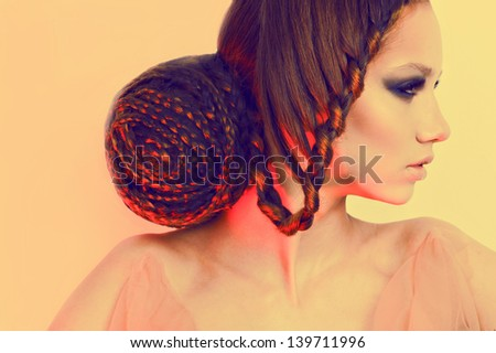 Beauty women face fashion hairstyle - stock photo