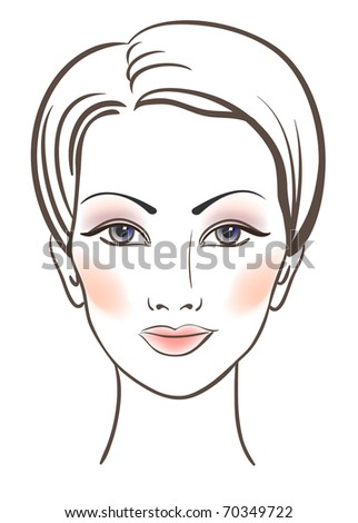 Beauty women face with makeup - stock photo