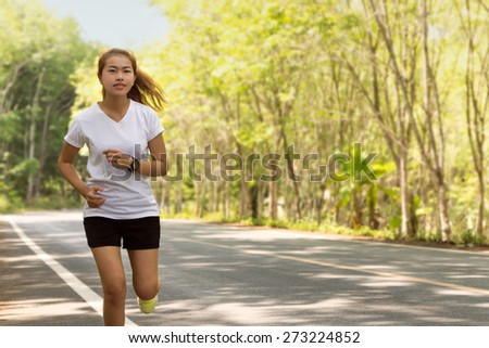 beauty women running on road rural in morning activity healthy lifestyle