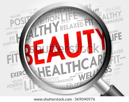 BEAUTY word cloud with magnifying glass, health concept