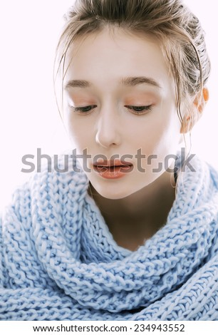 beauty young blond woman in scarf with weathered lips close up isolated, dehydrated - stock photo