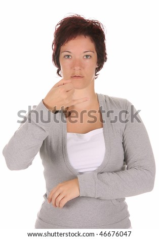 "beauty young deaf person hand demonstrating, ""J"" in the alphabet of signs - stock photo"